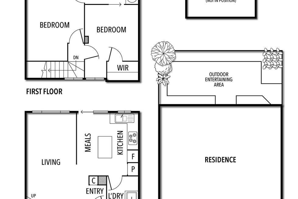 Floorplan of Homely townhouse listing, 2/291 Barkly Street, St Kilda VIC 3182