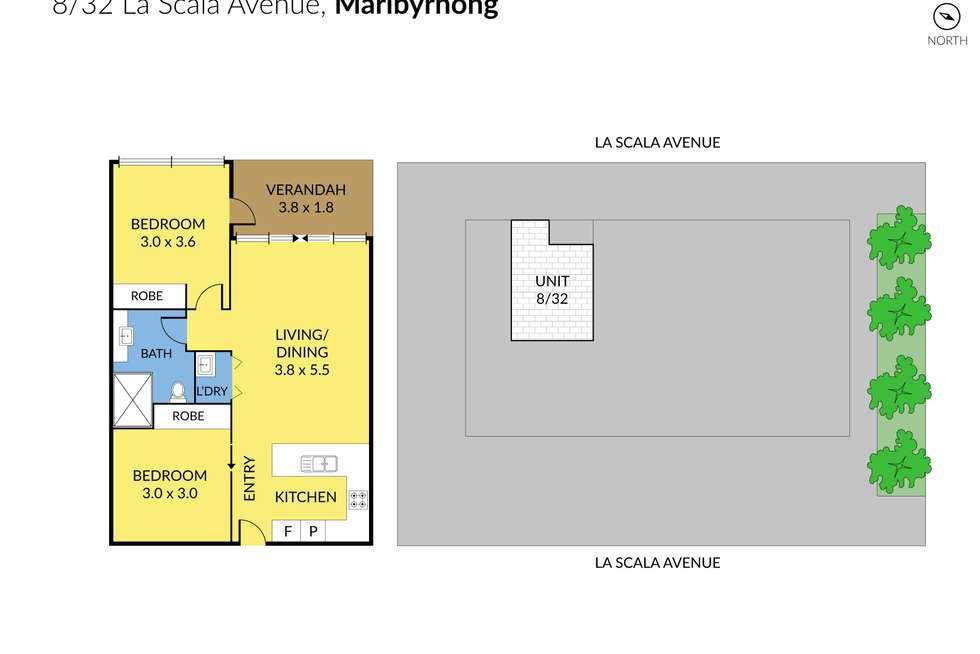Floorplan of Homely apartment listing, 8/32 La Scala Avenue, Maribyrnong VIC 3032