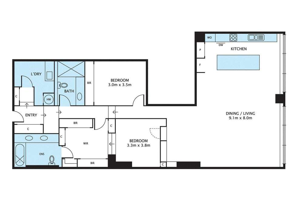Floorplan of Homely apartment listing, 207/601 Little Collins Street, Melbourne VIC 3000