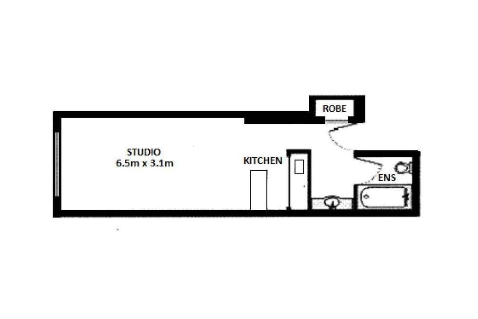 Floorplan of Homely studio listing, 1105B/1 William Street, Melbourne VIC 3000