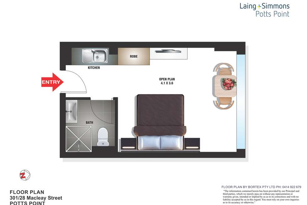 Floorplan of Homely studio listing, 301/28 Macleay Street, Potts Point NSW 2011