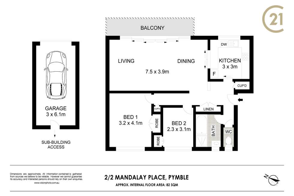 Floorplan of Homely apartment listing, 2/2 Mandalay Place, Pymble NSW 2073