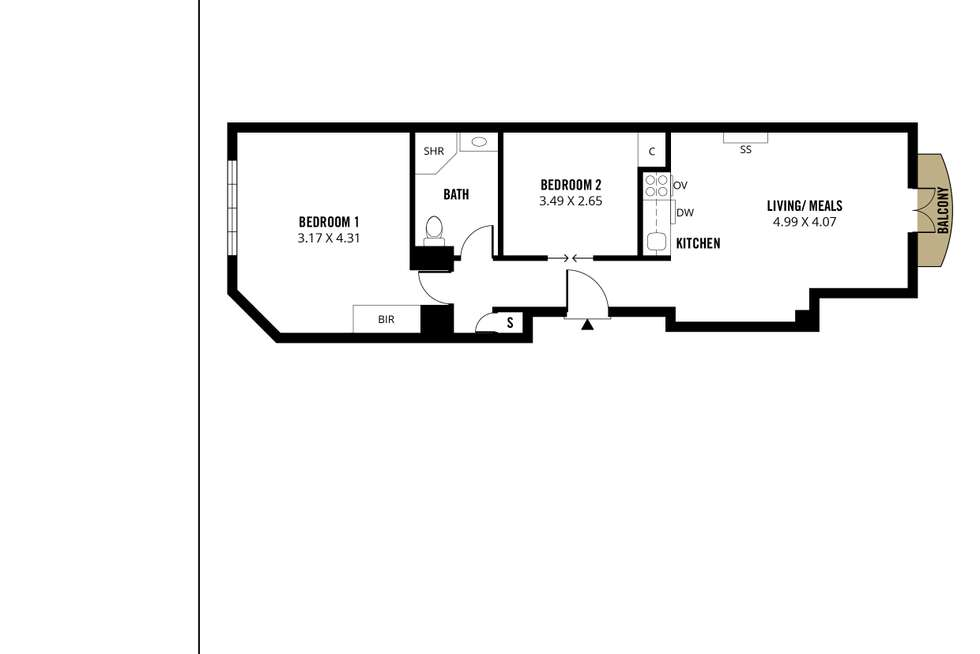 Floorplan of Homely apartment listing, 206/88 Frome Street, Adelaide SA 5000