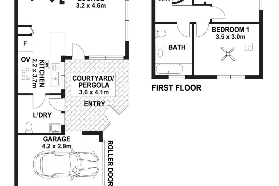 Floorplan of Homely townhouse listing, 2/12 Claxton Street, Adelaide SA 5000