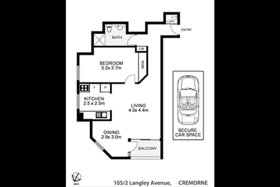 Floorplan of Homely apartment listing, 105/2 Langley Avenue, Cremorne NSW 2090