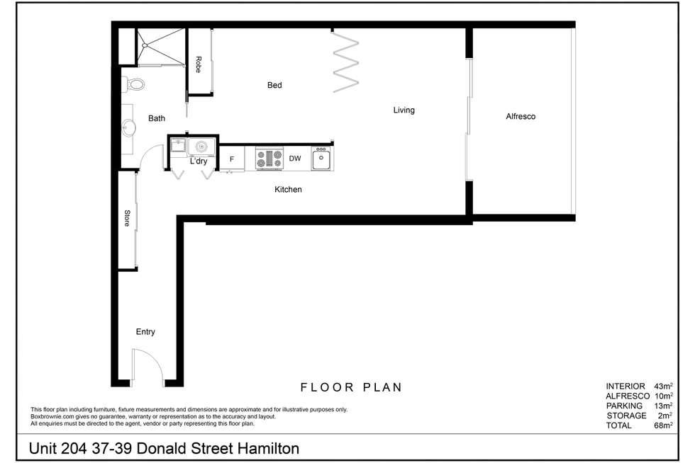 Floorplan of Homely apartment listing, 204/37-39 Donald Street, Hamilton NSW 2303