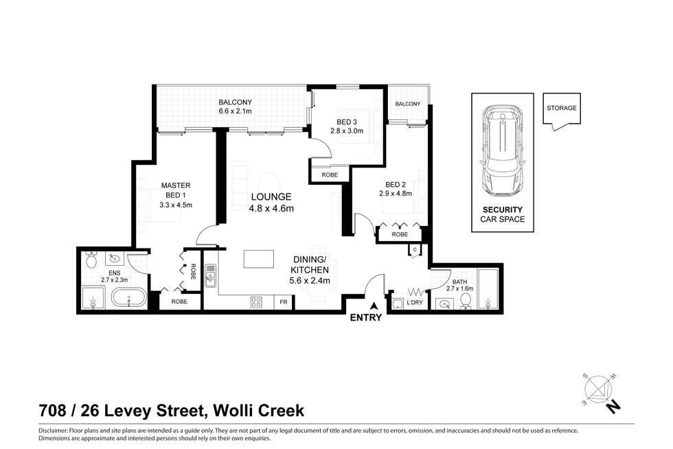 Floorplan of Homely apartment listing, 708/26 Levey Street, Wolli Creek NSW 2205
