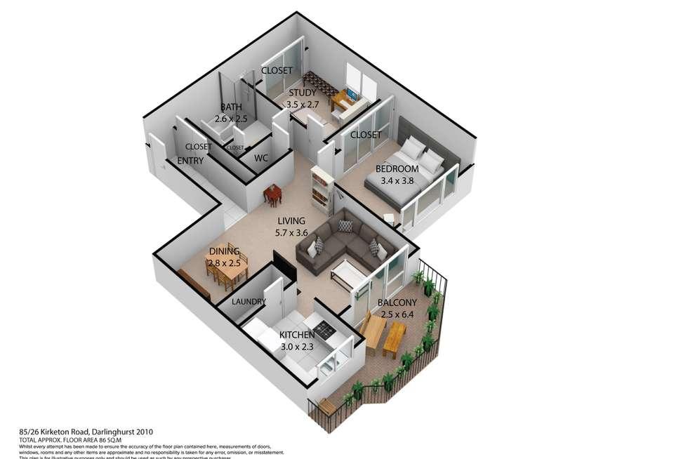 Floorplan of Homely apartment listing, 85/26 Kirketon Road, Darlinghurst NSW 2010