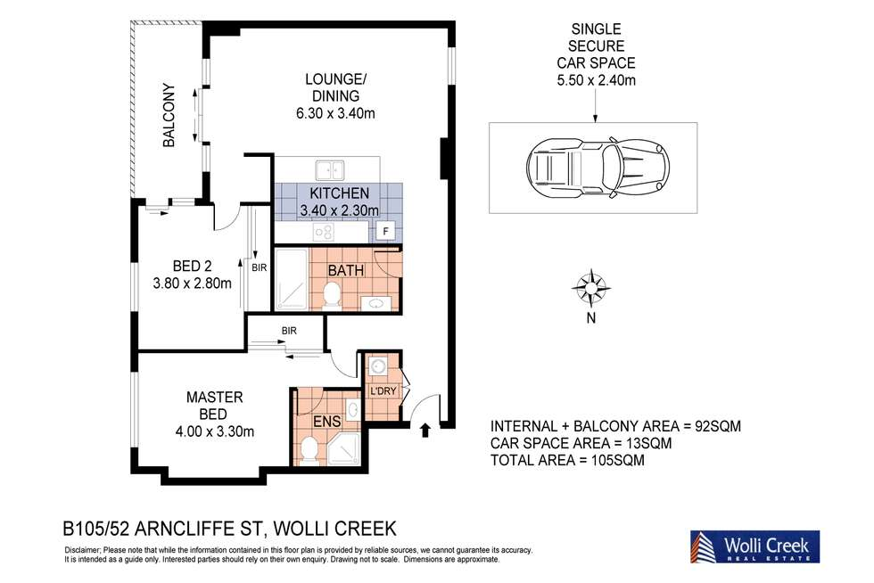 Floorplan of Homely apartment listing, 105/52-62 Arncliffe St, Wolli Creek NSW 2205