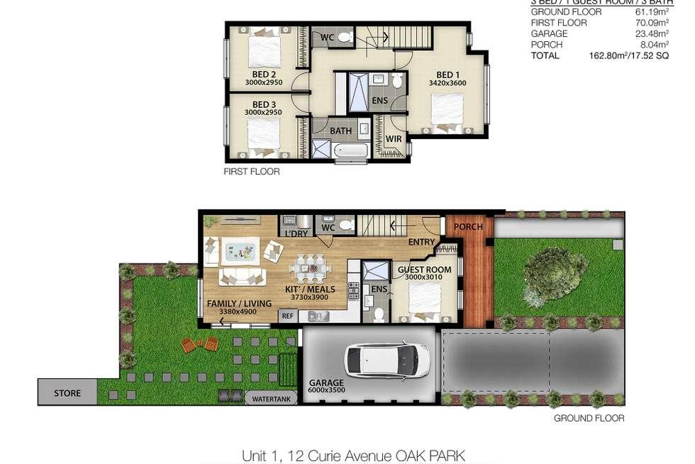 Floorplan of Homely townhouse listing, 1/12 Curie Av, Oak Park VIC 3046
