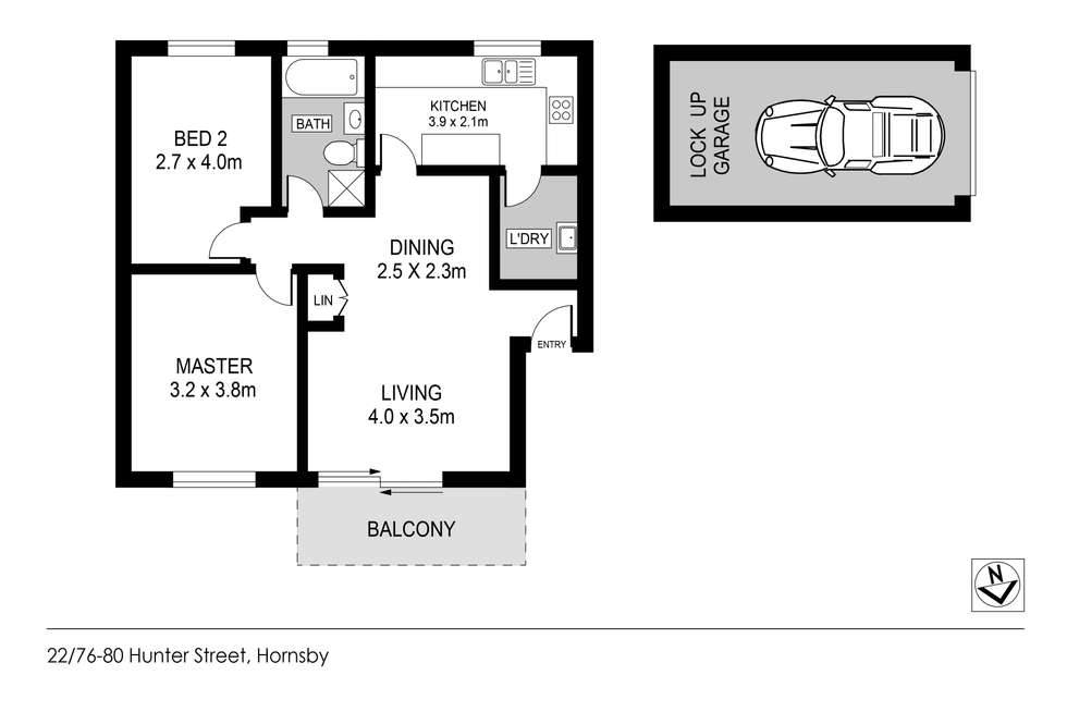 Floorplan of Homely apartment listing, 22/76-80 Hunter Street, Hornsby NSW 2077