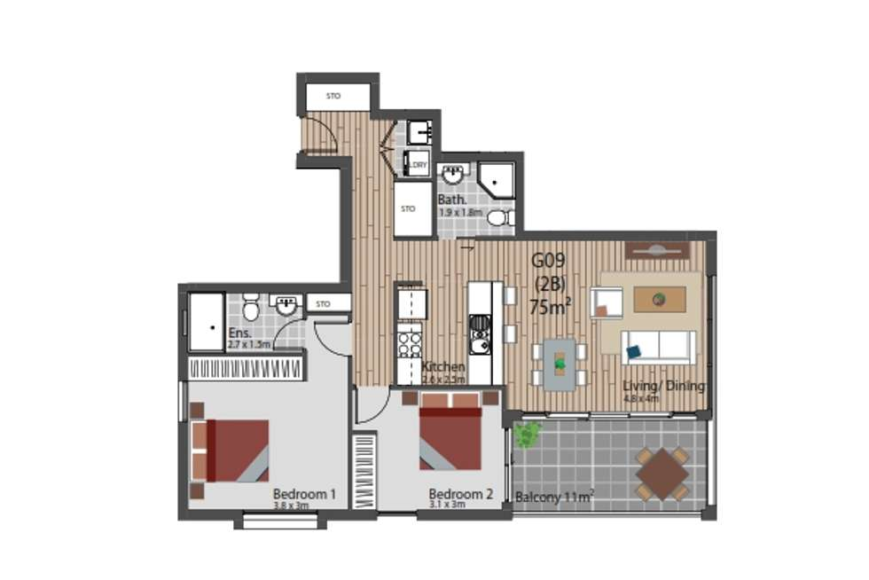 Floorplan of Homely apartment listing, G09/12-16 Shinfiled Avenue, St Ives NSW 2075