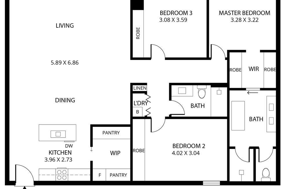 Floorplan of Homely apartment listing, 2904/29 Angas Street, Adelaide SA 5000