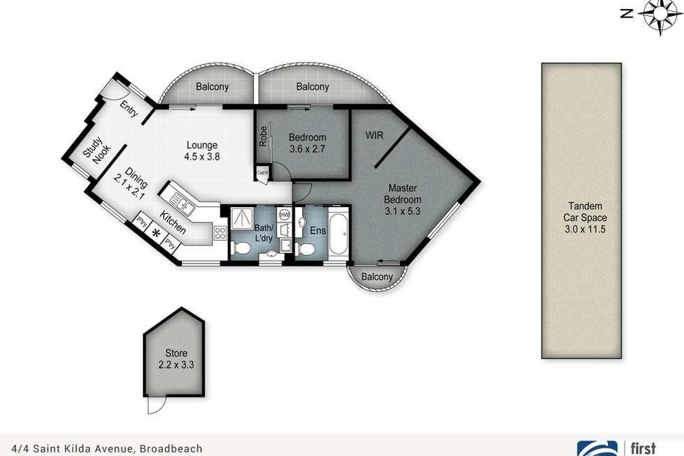 Floorplan of Homely unit listing, 4/4 ST Kilda Avenue, Broadbeach QLD 4218