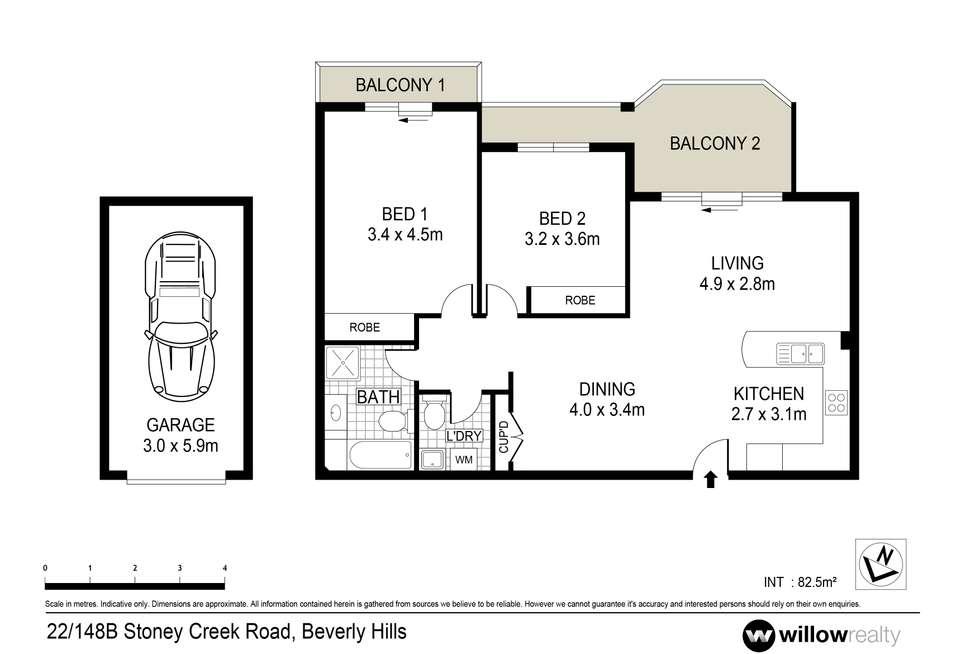 Floorplan of Homely apartment listing, 22/148B-148C Stoney Creek Road, Beverly Hills NSW 2209