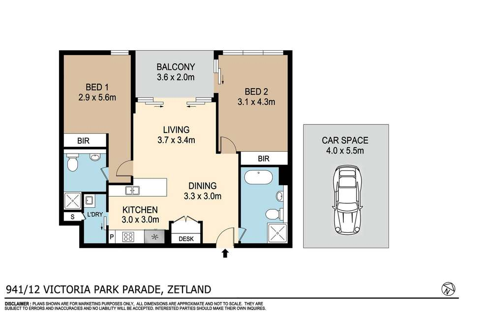 Floorplan of Homely apartment listing, 941/12 Victoria Park Parade, Zetland NSW 2017