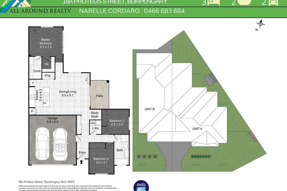 Floorplan of Homely semiDetached listing, 1/18 Proteous Street, Burpengary QLD 4505