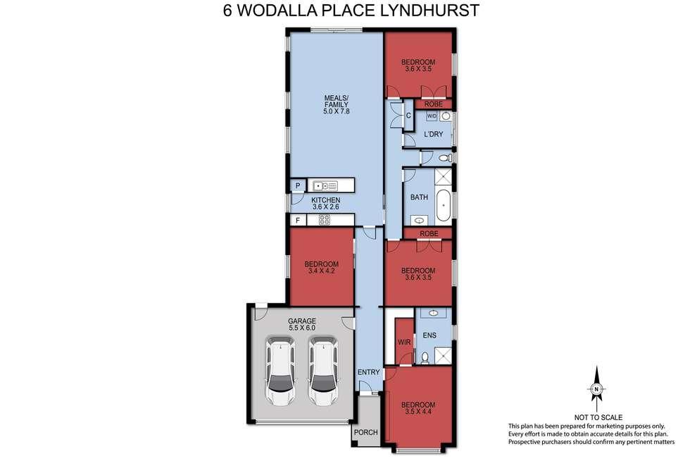 Floorplan of Homely house listing, 6 WODALLA PLACE, Lyndhurst VIC 3975