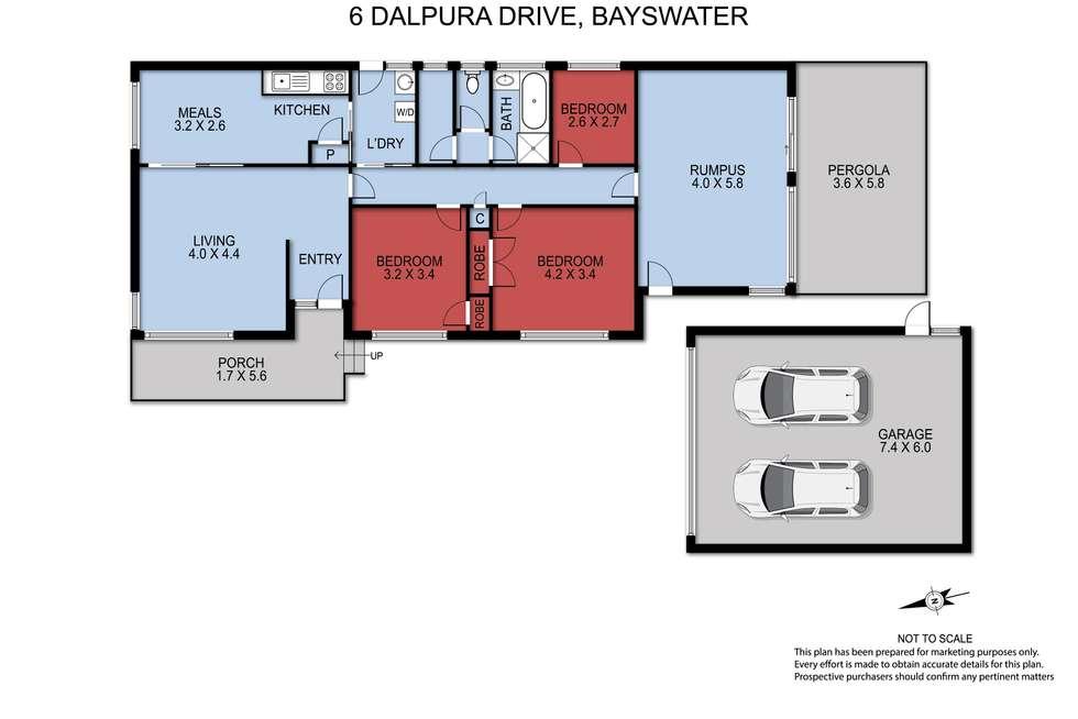 Floorplan of Homely house listing, 6 DALPURA DRIVE, Bayswater VIC 3153