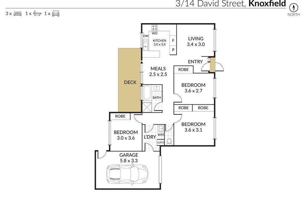 Floorplan of Homely townhouse listing, 3/14 David Street, Knoxfield VIC 3180
