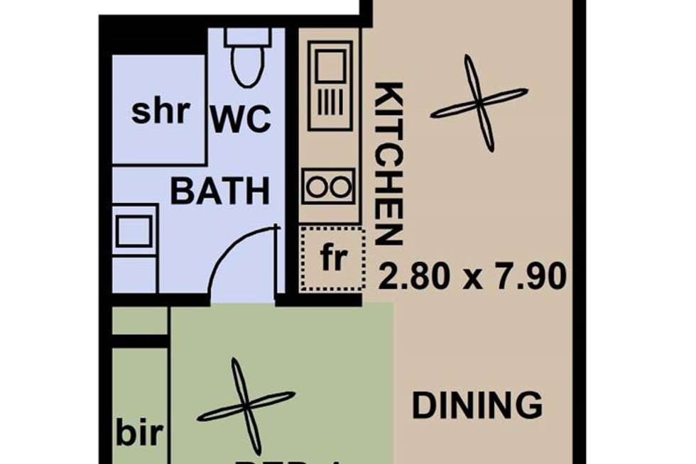 Floorplan of Homely studio listing, 709/23 King William Street, Adelaide SA 5000