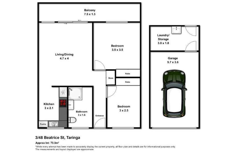 Floorplan of Homely unit listing, 3/48 Beatrice Street, Taringa QLD 4068