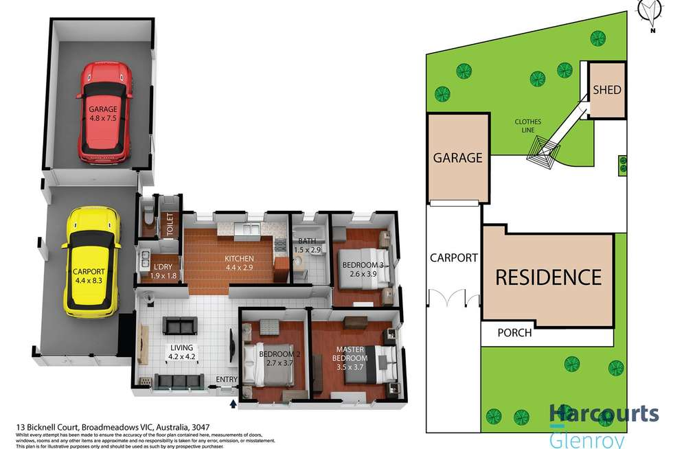 Floorplan of Homely house listing, 13 Bicknell Court, Broadmeadows VIC 3047