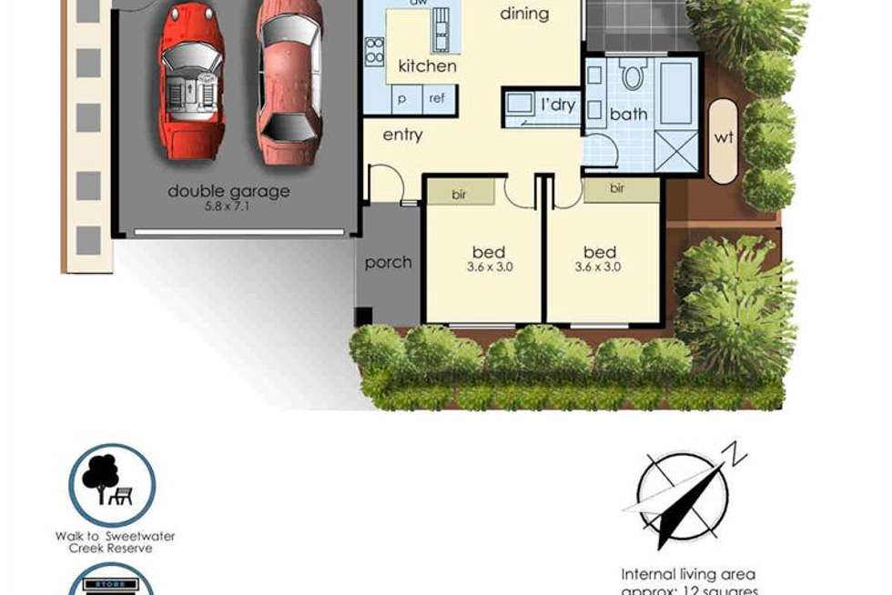 Floorplan of Homely townhouse listing, 1/62A Baden Powell Drive, Frankston South VIC 3199
