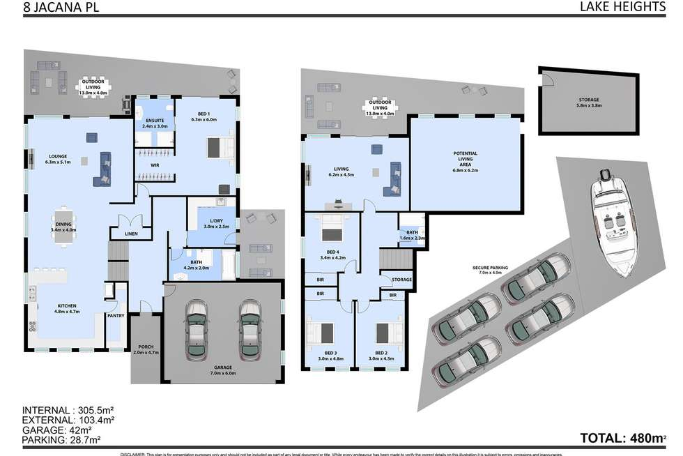 Floorplan of Homely house listing, 8 Jacana Place, Lake Heights NSW 2502