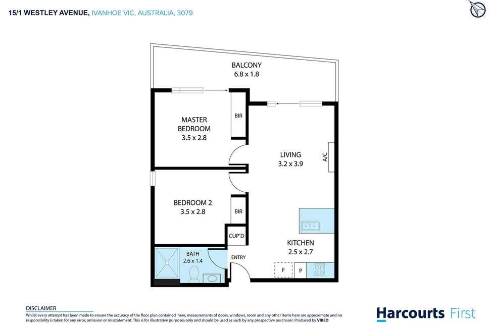 Floorplan of Homely apartment listing, 15-5 1 Westley Avenue, Ivanhoe VIC 3079