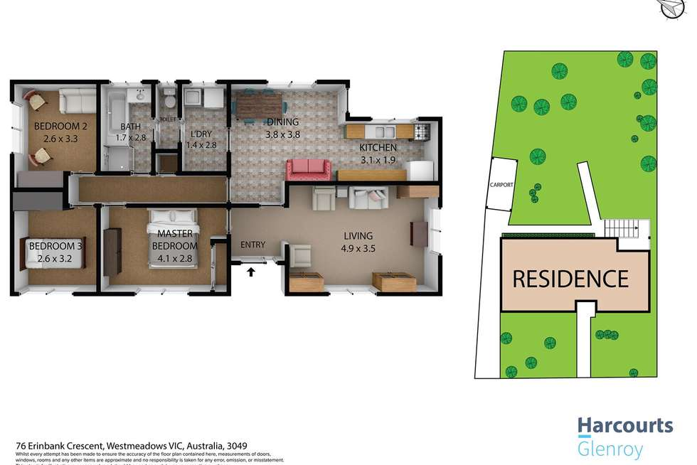 Floorplan of Homely house listing, 76 Erinbank Crescent, Westmeadows VIC 3049