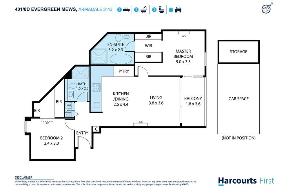 Floorplan of Homely apartment listing, 401/8D Evergreen Mews, Armadale VIC 3143