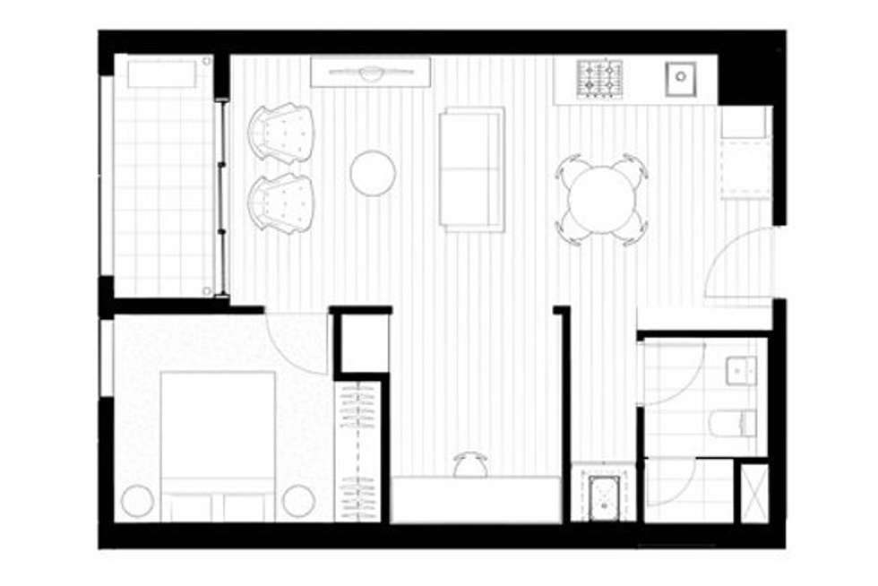 Floorplan of Homely apartment listing, 3407E/888 Collins Street, Melbourne VIC 3000