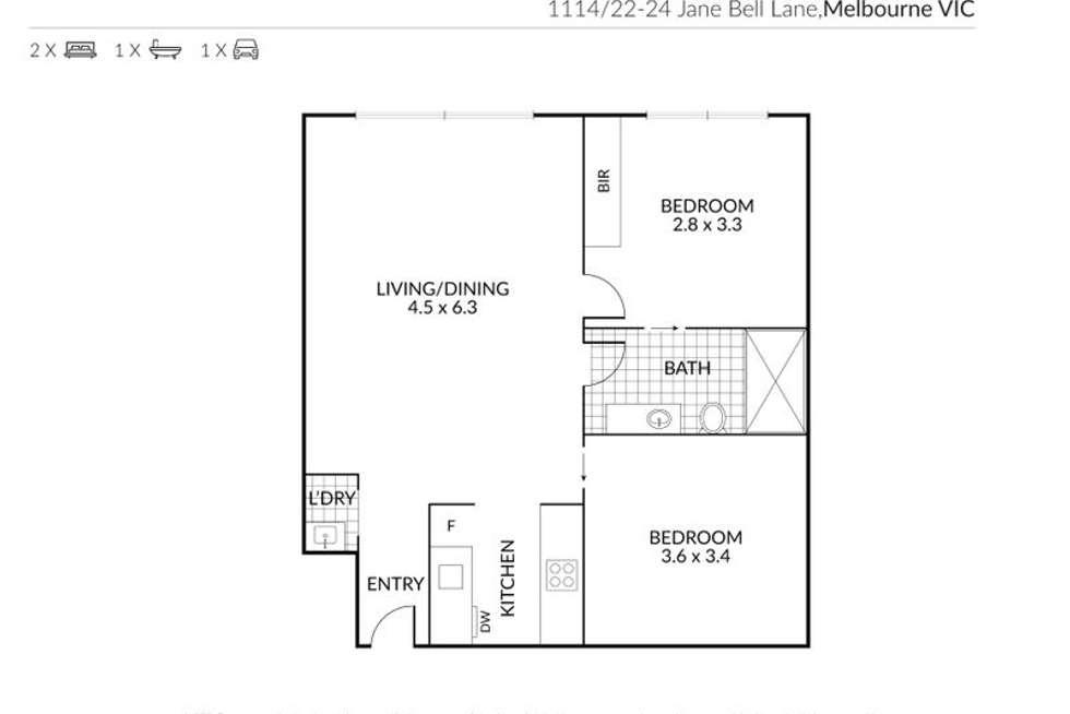 Floorplan of Homely apartment listing, 1114/22-24 Jane Bell Lane, Melbourne VIC 3000