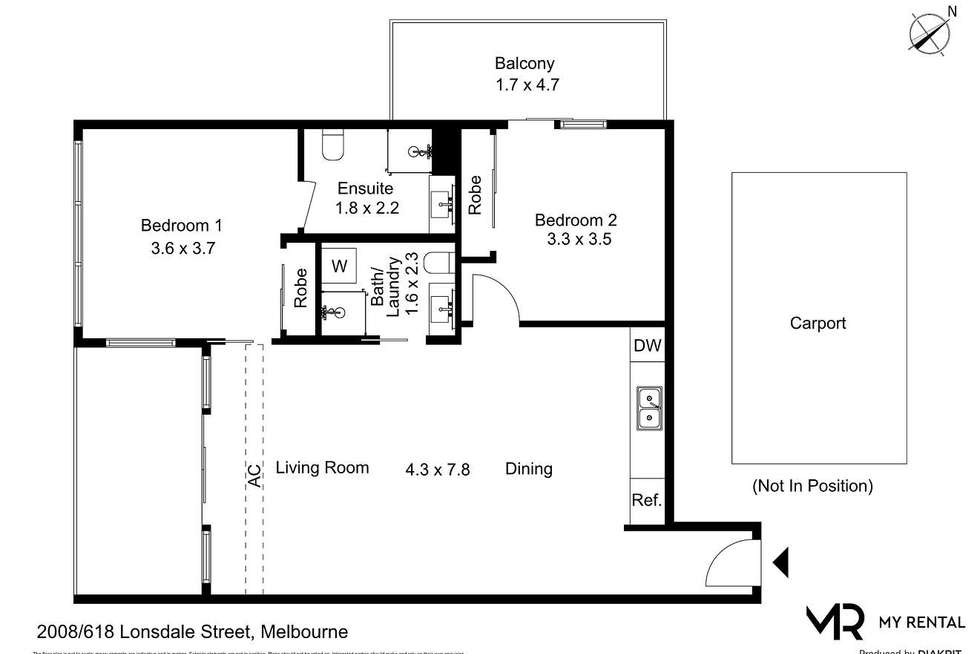 Floorplan of Homely apartment listing, 2008/618 Lonsdale Street, Melbourne VIC 3000