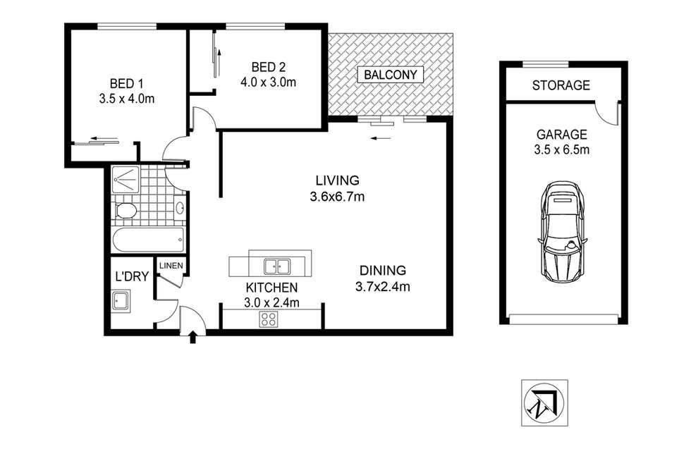 Floorplan of Homely apartment listing, 18/73-75 Deakin Street, Silverwater NSW 2128