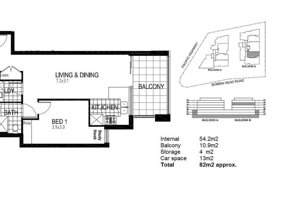 Floorplan of Homely unit listing, B205/2 Bobbin Head Road, Pymble NSW 2073