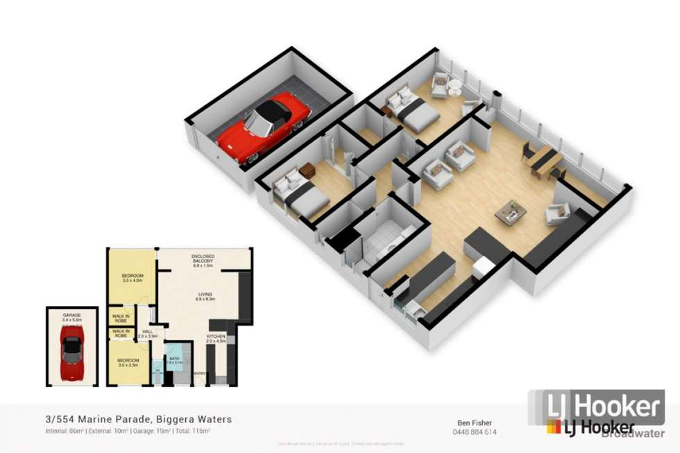 Floorplan of Homely apartment listing, 3/554 Marine Parade, Biggera Waters QLD 4216