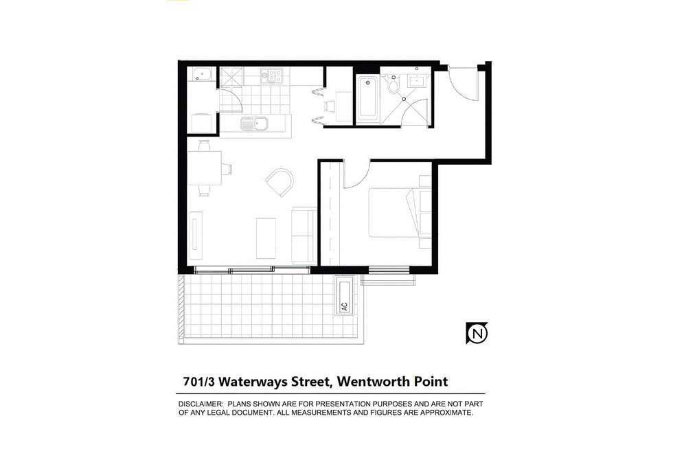 Floorplan of Homely unit listing, 701/3 Waterways St, Wentworth Point NSW 2127