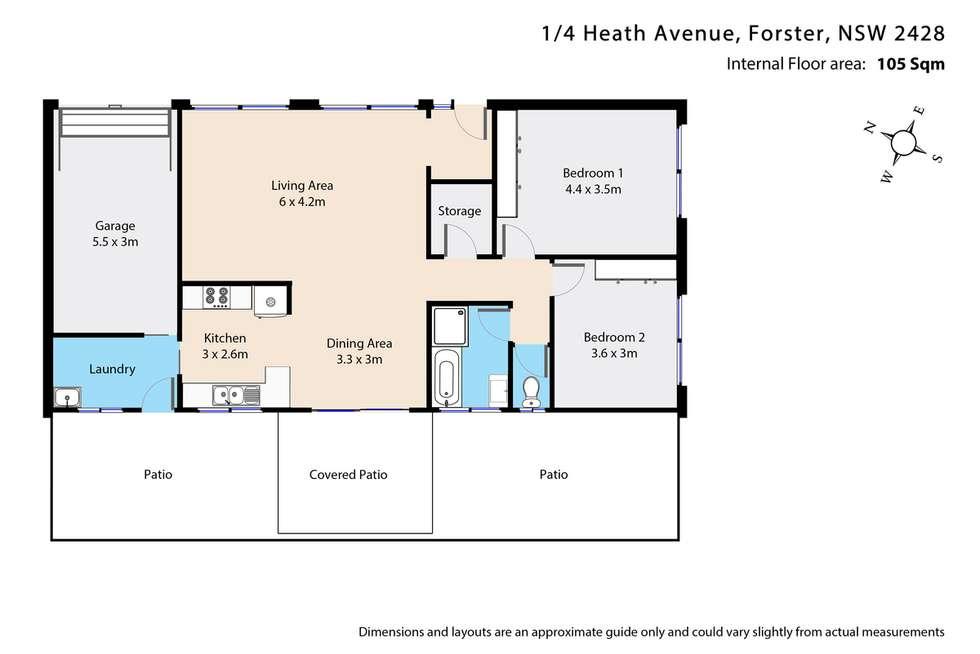 Floorplan of Homely villa listing, 1/4 Heath Avenue, Tuncurry NSW 2428