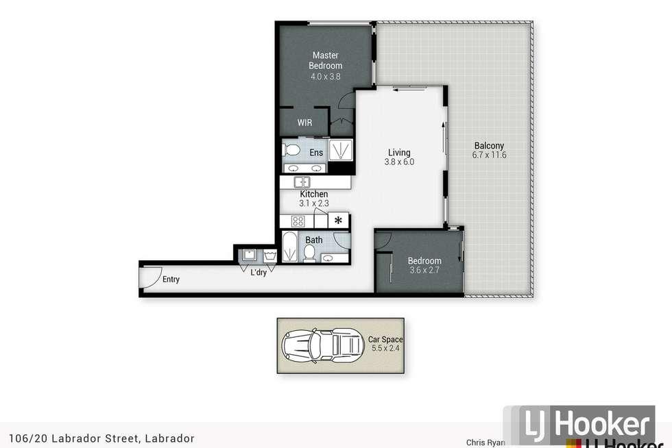 Floorplan of Homely apartment listing, 106/20 Labrador Street, Labrador QLD 4215