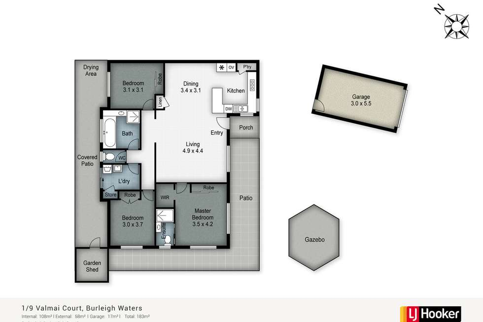 Floorplan of Homely semiDetached listing, 1/9 Valmai Court, Burleigh Waters QLD 4220
