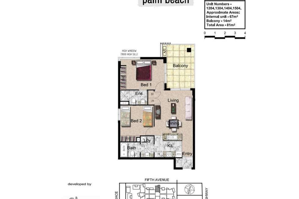 Floorplan of Homely unit listing, 1504/10 Fifth Avenue, Palm Beach QLD 4221