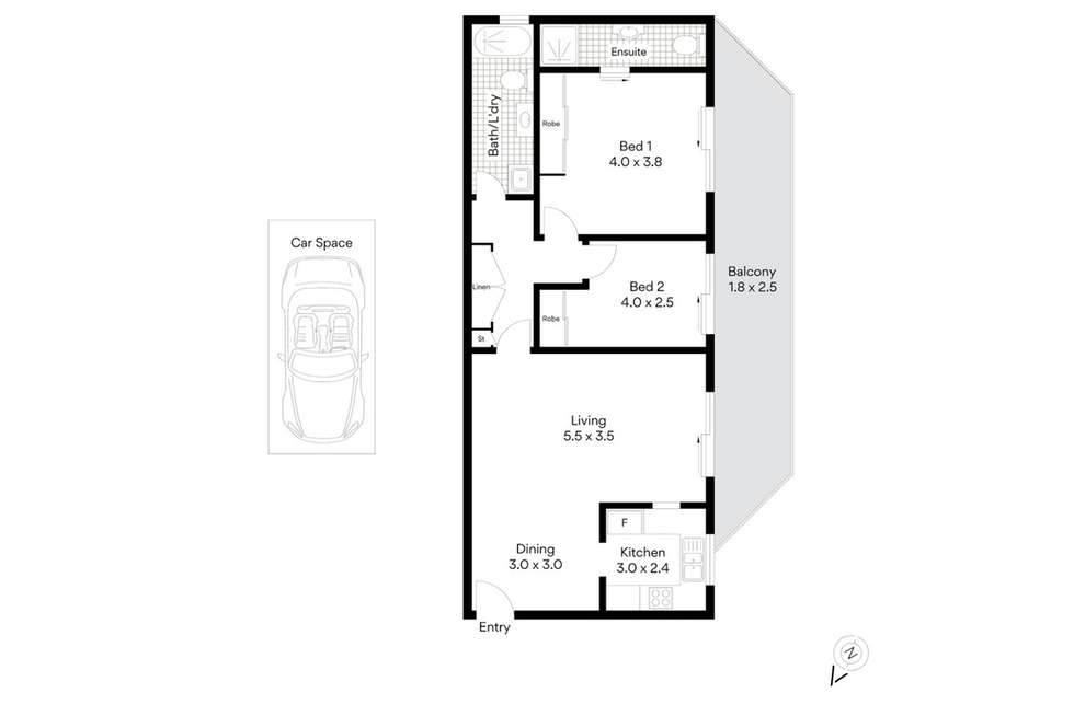 Floorplan of Homely apartment listing, 2/3 Curd Street, Greenslopes QLD 4120