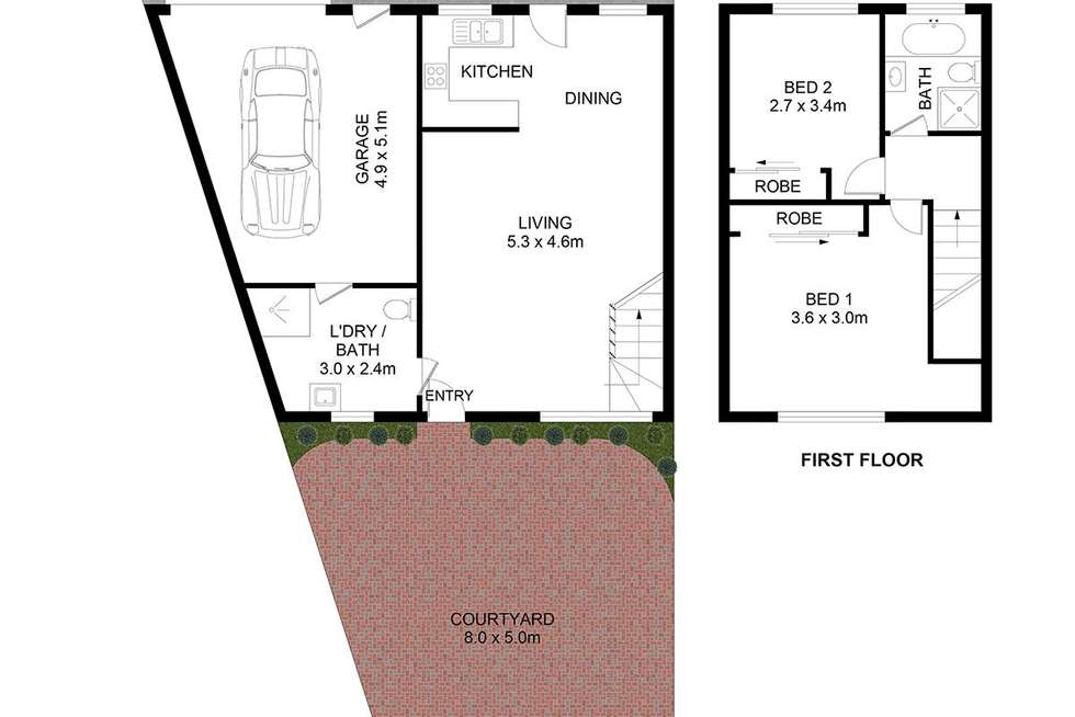 Floorplan of Homely townhouse listing, 1/288 Sackville Street, Canley Vale NSW 2166