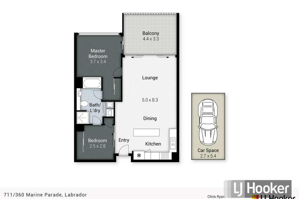 Floorplan of Homely apartment listing, 711/360 Marine Parade, Labrador QLD 4215