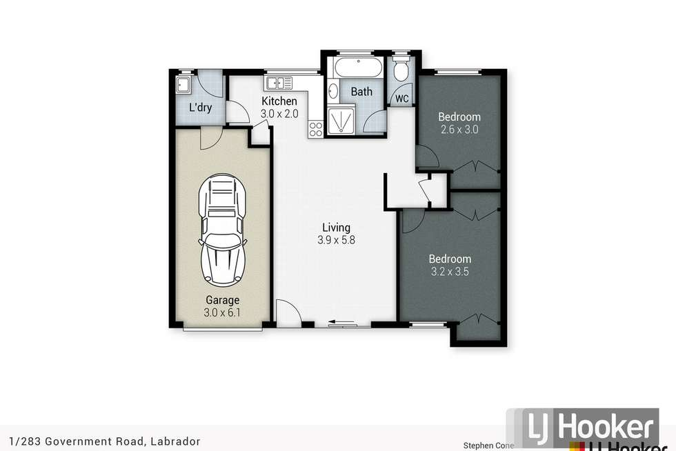 Floorplan of Homely semiDetached listing, 1/283 Government Road, Labrador QLD 4215