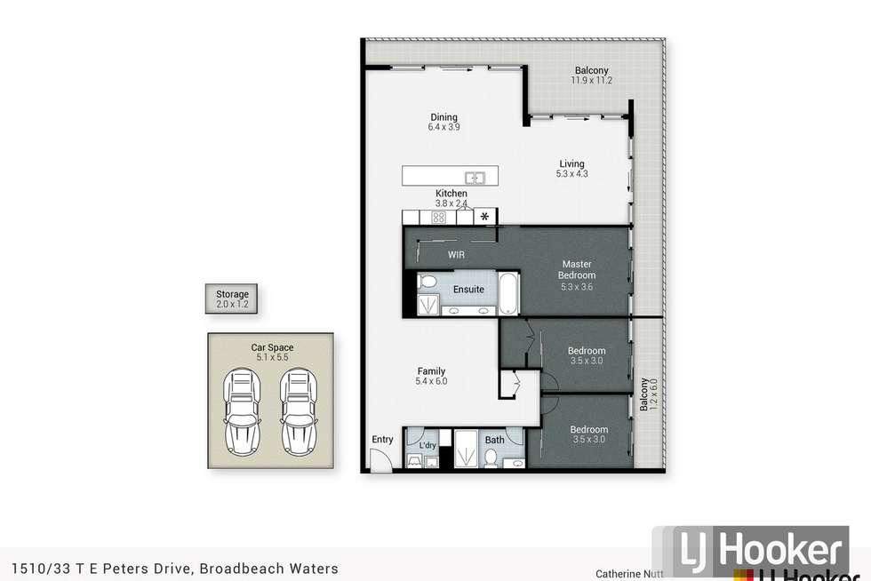 Floorplan of Homely apartment listing, 1510/33 T E Peters Drive, Broadbeach QLD 4218