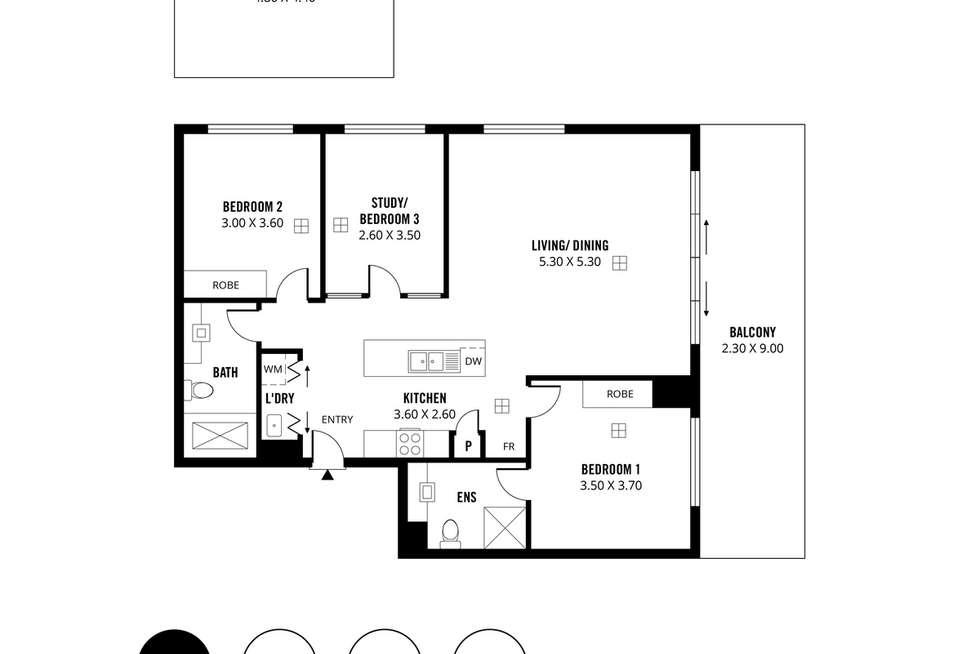 Floorplan of Homely apartment listing, 306/23 Warner Avenue, Findon SA 5023