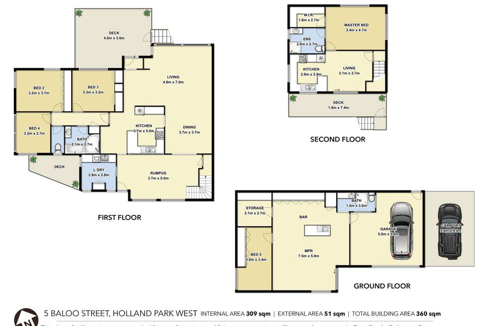 Floorplan of Homely house listing, 5 Baloo Street, Holland Park West QLD 4121